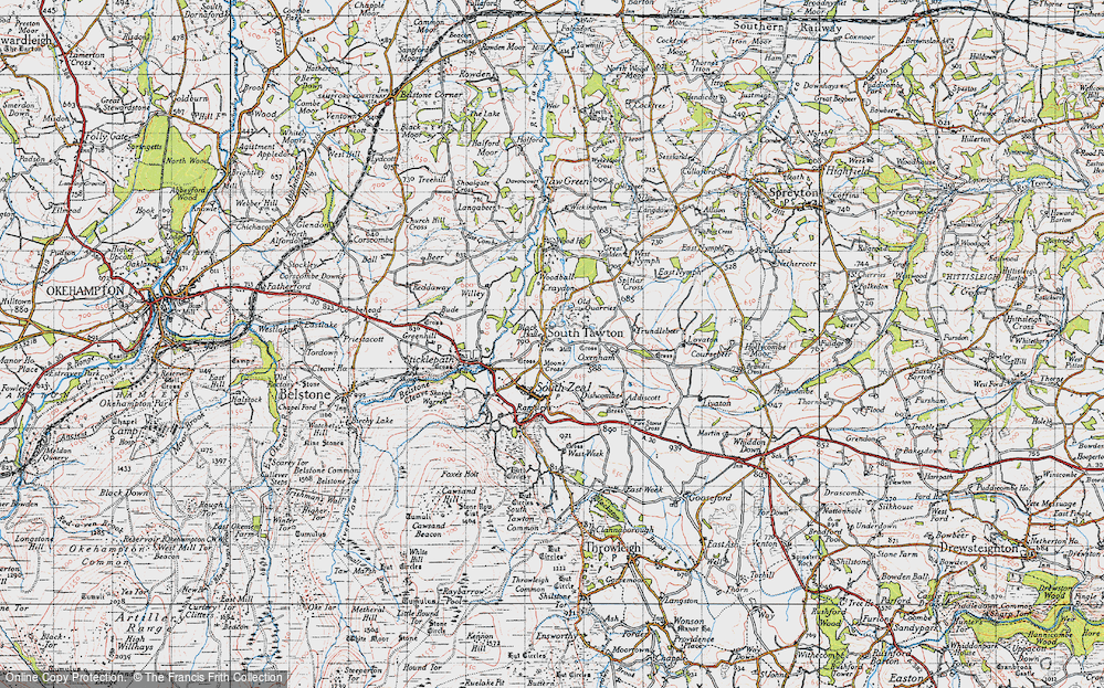 Old Map of Historic Map covering Woodball in 1946