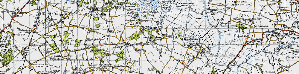 Old map of South Walsham in 1945
