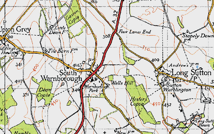 Old map of South Warnborough in 1940