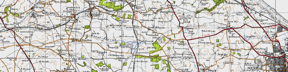 Old map of White Hurworth in 1947