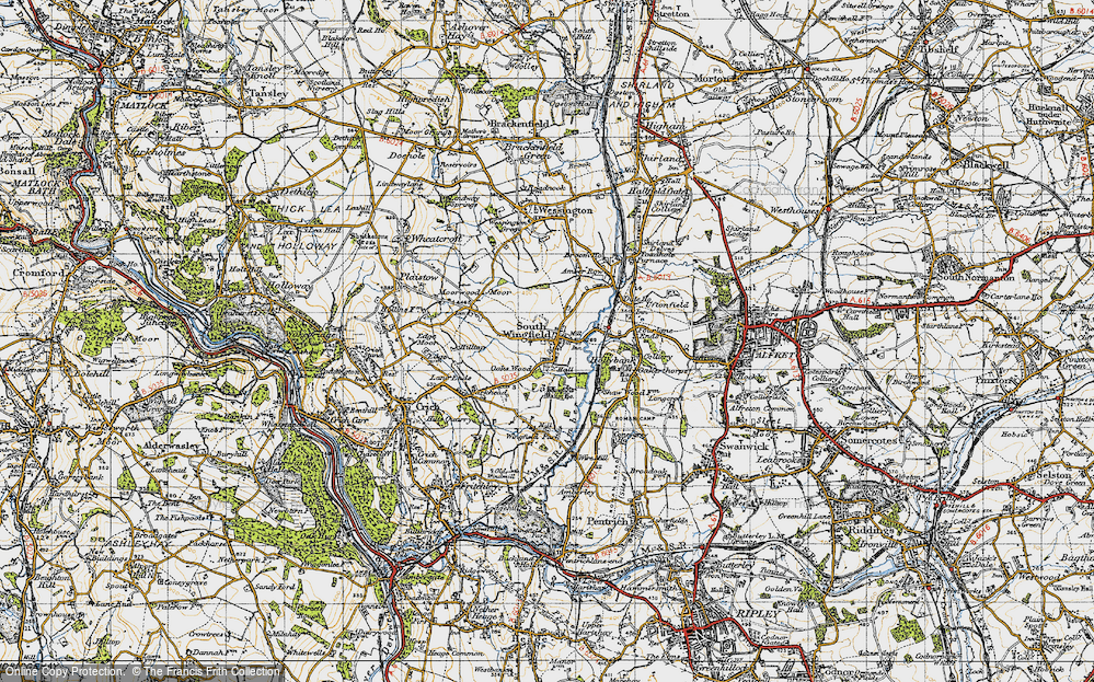 Old Map of South Wingfield, 1947 in 1947