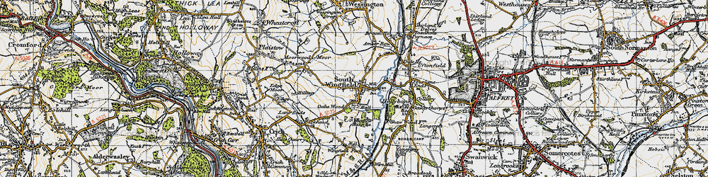 Old map of South Wingfield in 1947