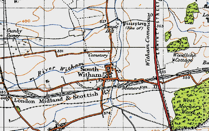 Old map of Witham Common in 1946
