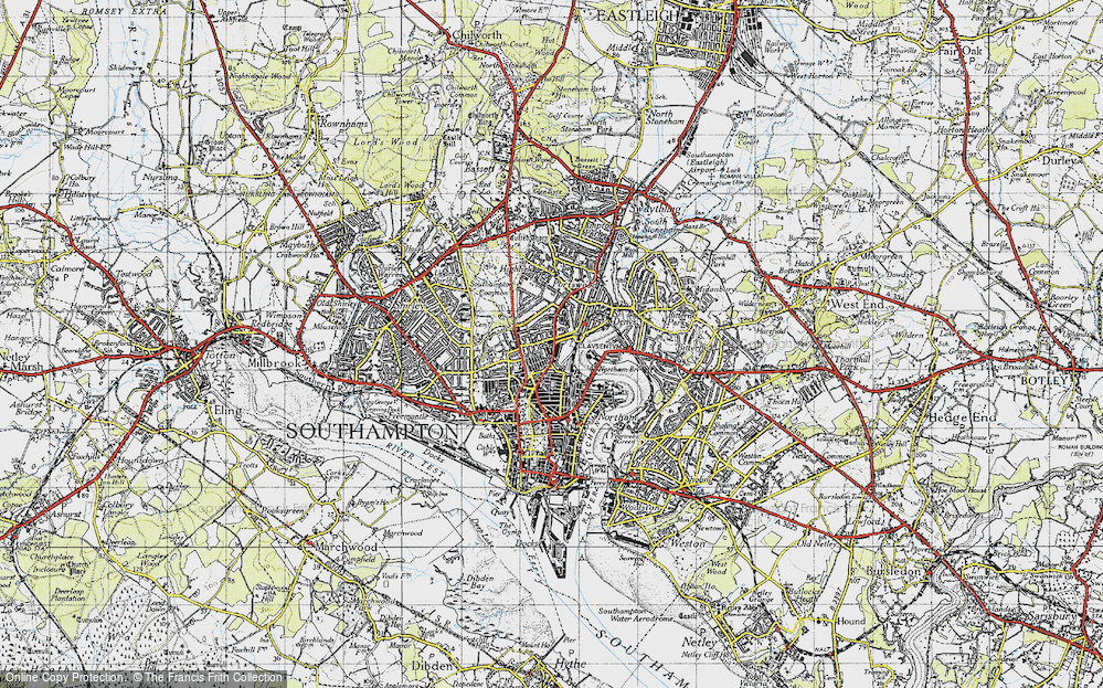 Old Map of Southampton, 1945 in 1945