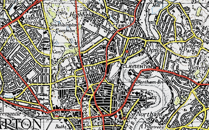 Old map of Southampton in 1945