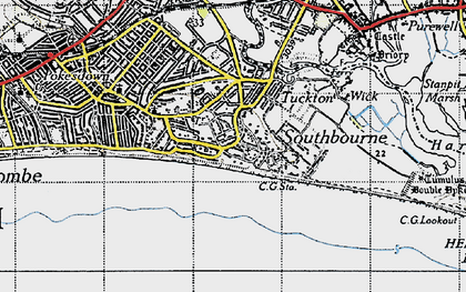 Old map of Southbourne in 1940