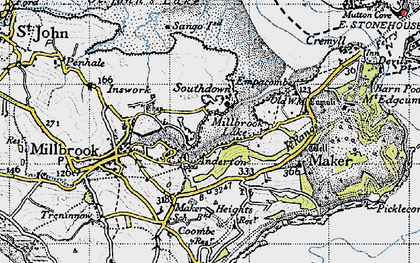 Old map of Southdown in 1946