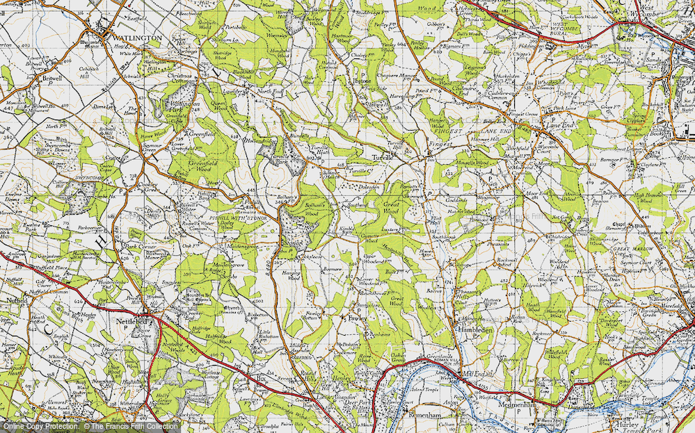 Old Map of Historic Map covering Balham's Wood in 1947