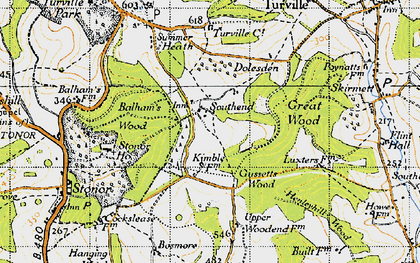 Old map of Balham's Wood in 1947