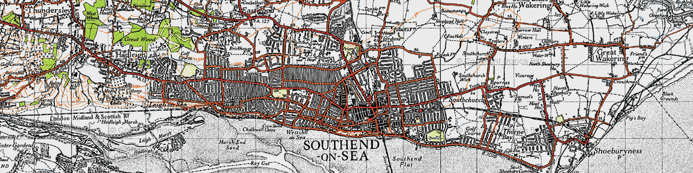 Old map of Southend-on-Sea in 1945