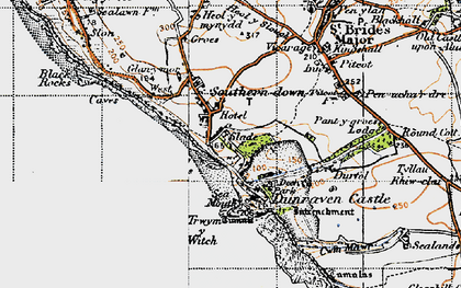 Old map of Southerndown in 1947