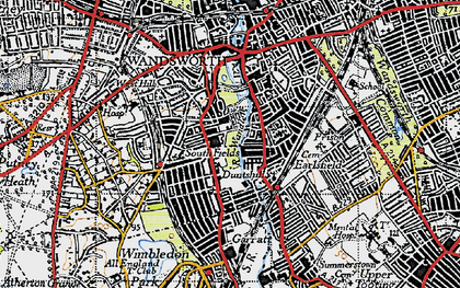 Old map of Southfields in 1945