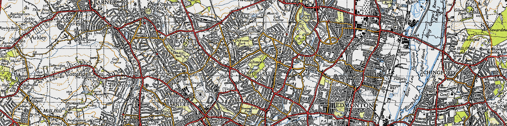 Old map of Southgate in 1946