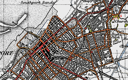 Old map of Southport in 1947