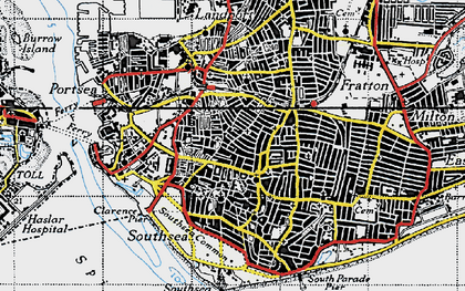 Old map of Southsea in 1945