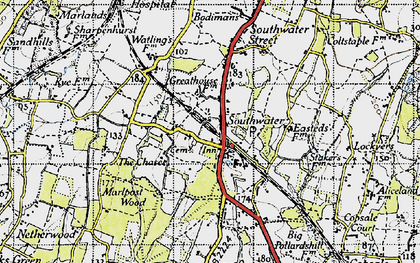 Old map of Southwater in 1940
