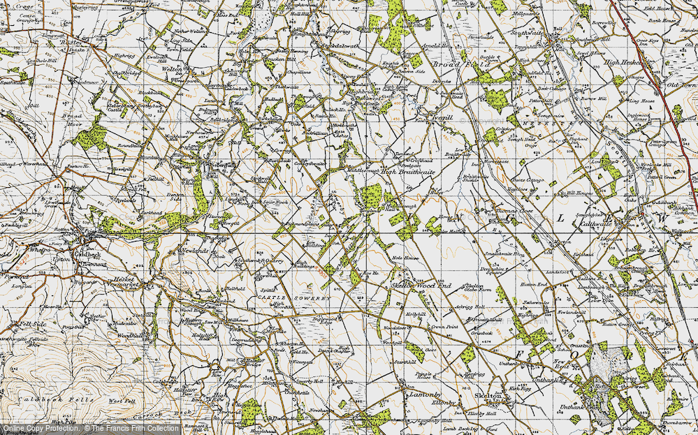 Old Map of Historic Map covering Whale Gill in 1947