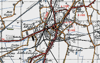 Old map of Spalding in 1946
