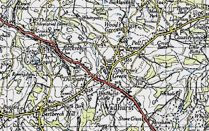 Old map of Sparrow's Green in 1940