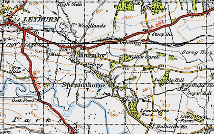 Old map of Spennithorne in 1947