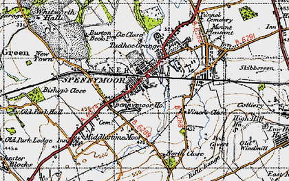 Old map of Spennymoor in 1947