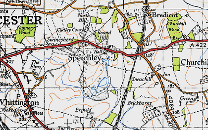 Old map of Spetchley in 1946