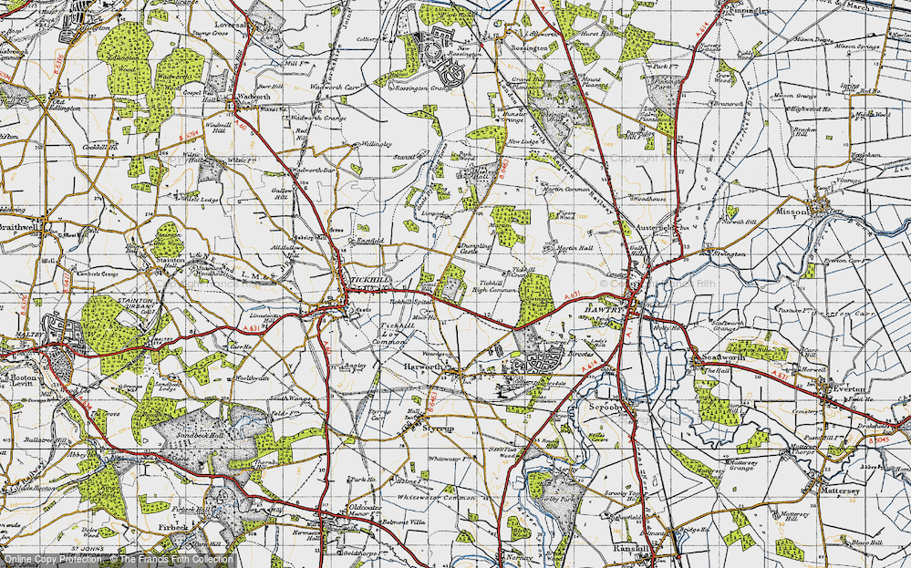Old Map of Historic Map covering Tickhill High Common in 1947