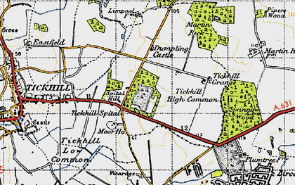 Old map of Tickhill Grange in 1947