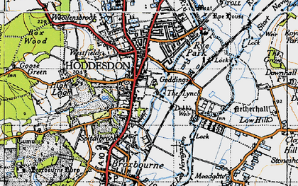 Old map of Spitalbrook in 1946