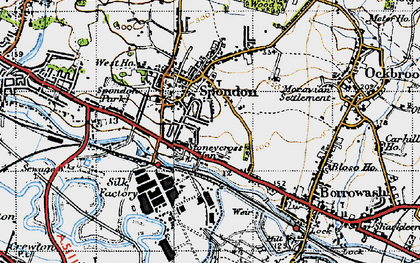 Old map of Spondon in 1946