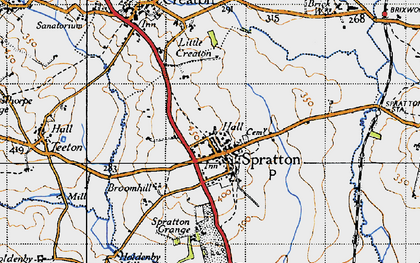 Old map of Spratton in 1946
