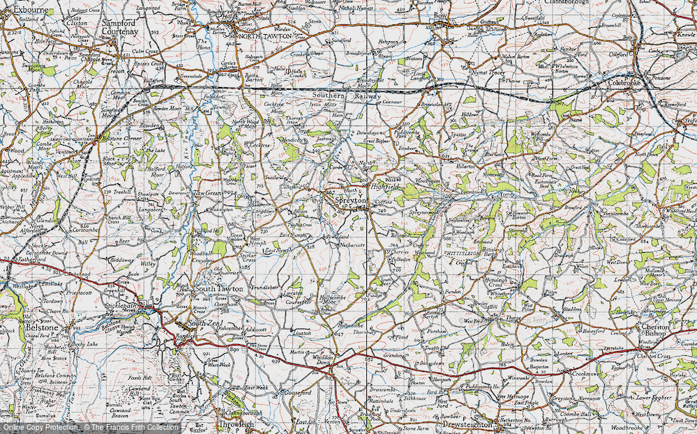 Old Map of Historic Map covering Langdown in 1946