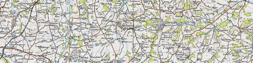 Old map of Allison in 1946
