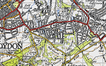 Old map of Addington Palace in 1946