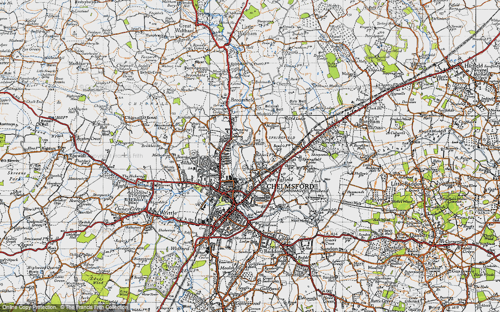 Old Map of Springfield, 1945 in 1945
