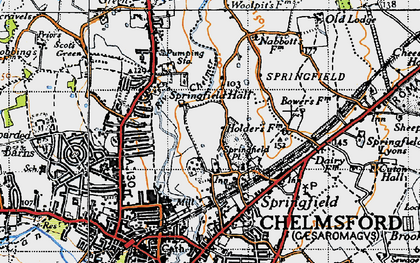Old map of Springfield in 1945