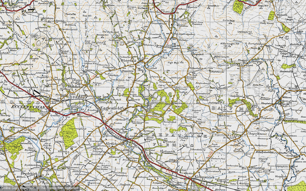 Old Map of Historic Map covering Ashyards in 1947