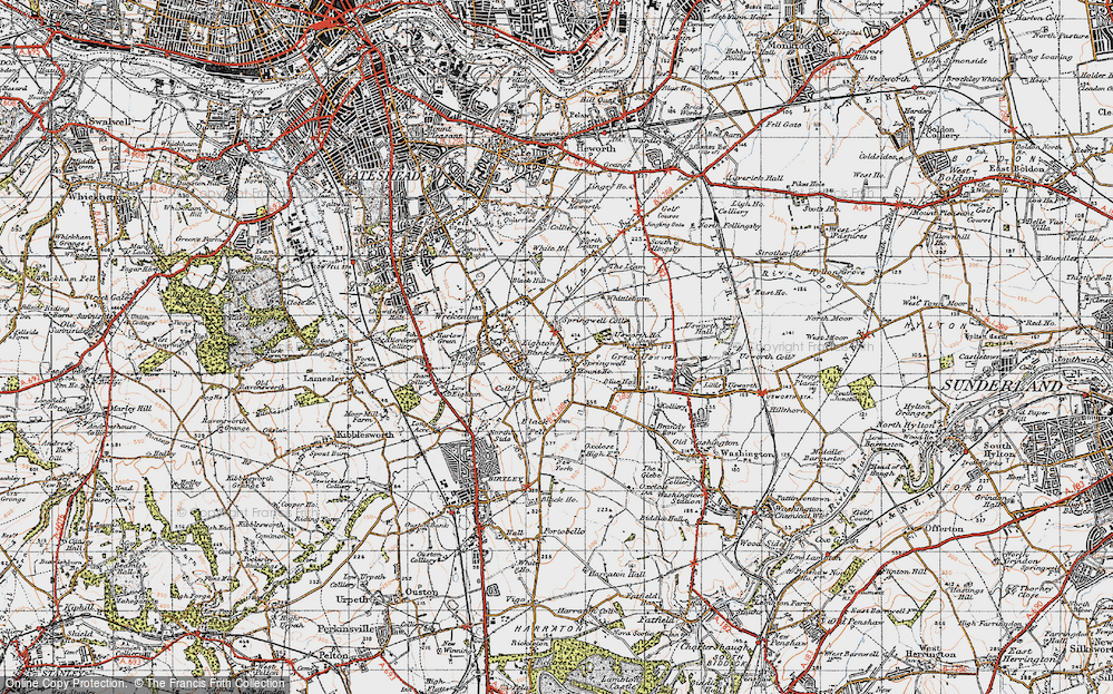 Old Map of Springwell, 1947 in 1947