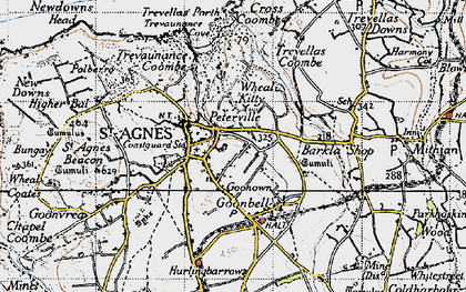 Old map of St Agnes in 1946