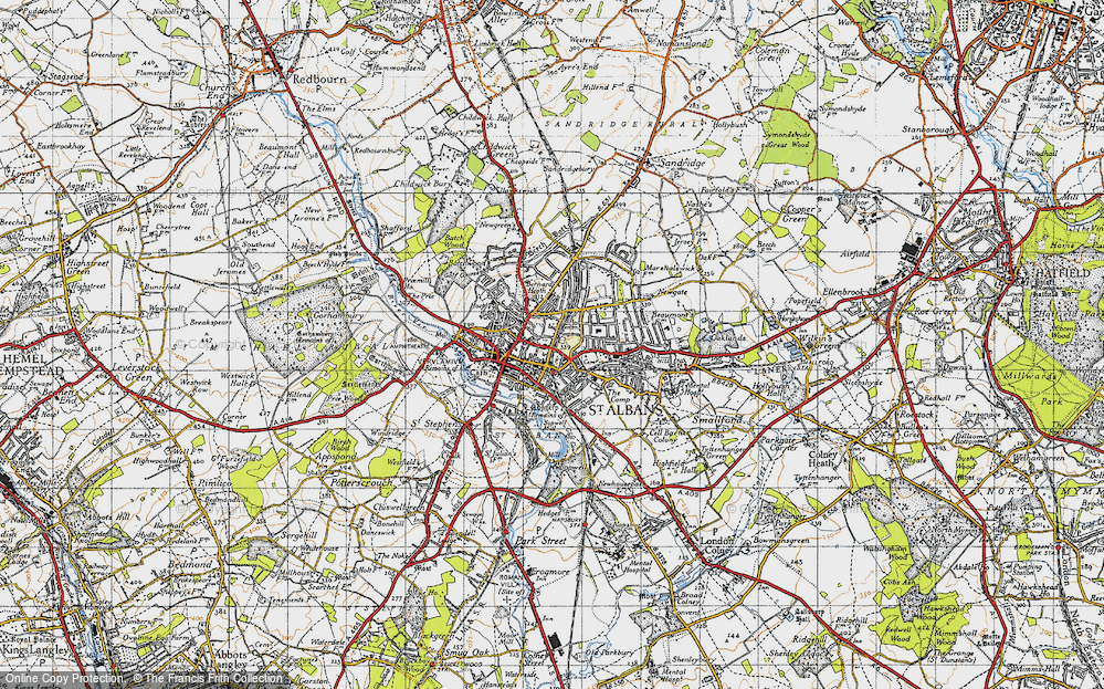 Map of St Albans 1946 Francis Frith