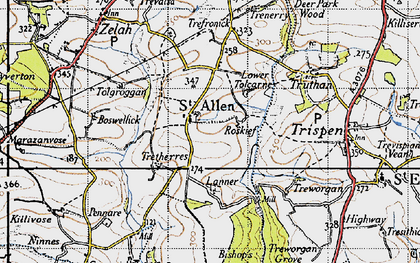 Old map of St Allen in 1946