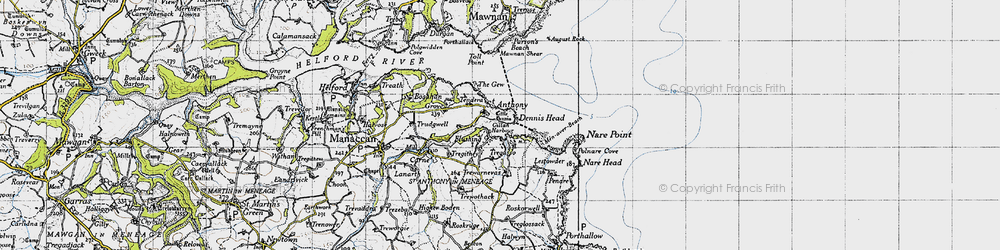 Old map of St Anthony-in-Meneage in 1946