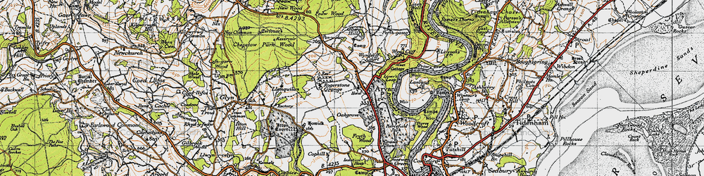 Old map of Wynd Cliff in 1946