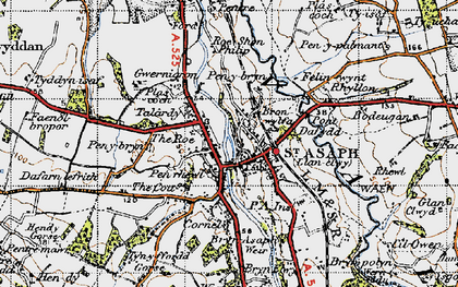 Old map of St Asaph in 1947