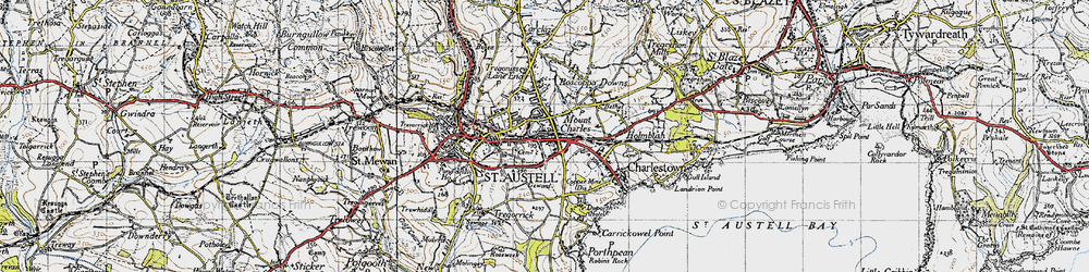 Old map of St Austell in 1946