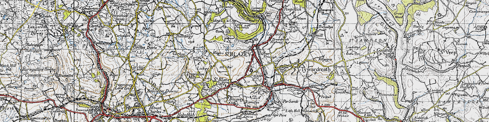 Old map of St Blazey in 1946