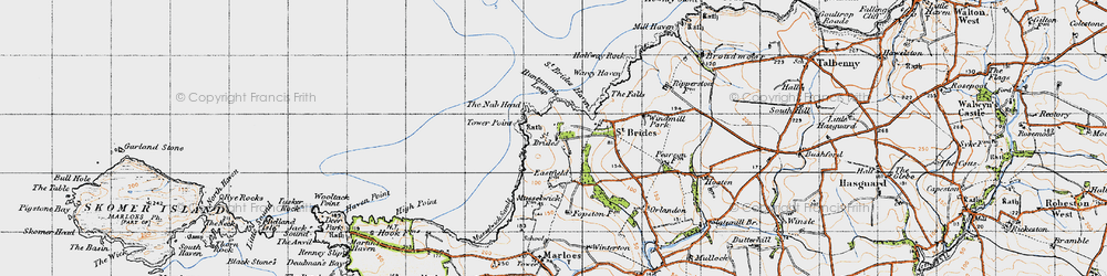 Old map of St Brides in 1946