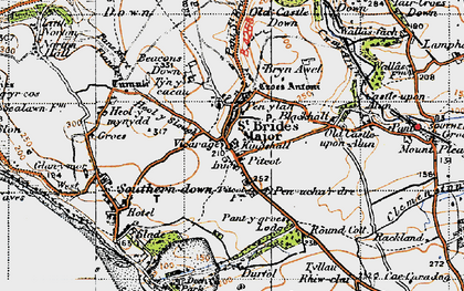 Old map of St Brides Major in 1947