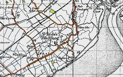 Old map of West Usk Lighthouse in 1946