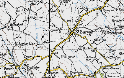 Old map of St Buryan in 1946
